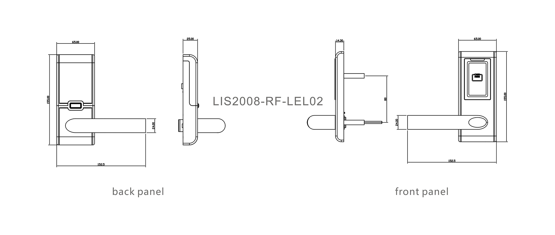 Hotel lock SUS304 material for budget hotel 60/70 tubular latch RF-LEL02-4
