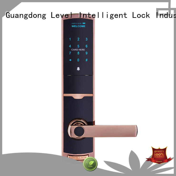 Level black smart card lock factory price for residential